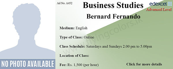 Edexcel A'Level Economics Tuition Class by Bernard Fernando