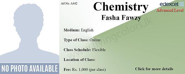 Edexcel A'Level Chemistry Tuition by Fasha Fawzy