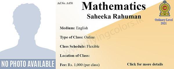 GCE Ordinary Level Mathematics Tuition by Saheeka Rahuman