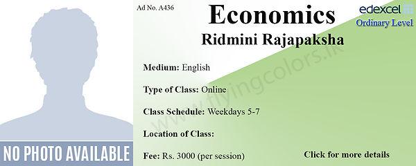 Edexcel O'Level Economics Tuition by Ridmini Rajapaksha