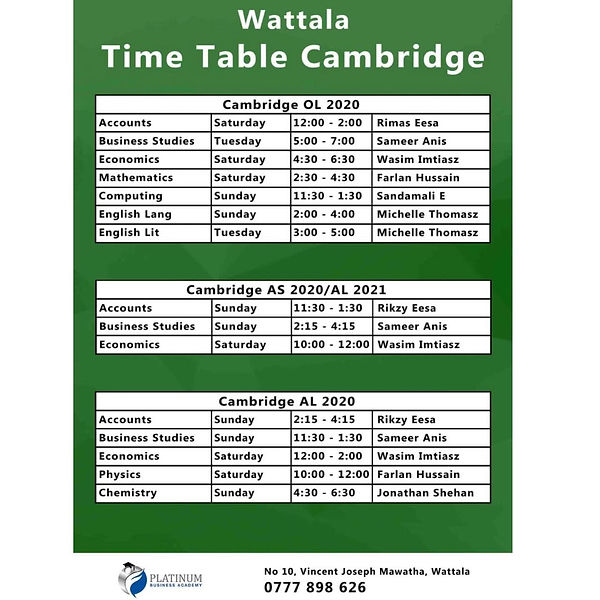 Platinum Timetable Institute Cambridge O/L and A/L