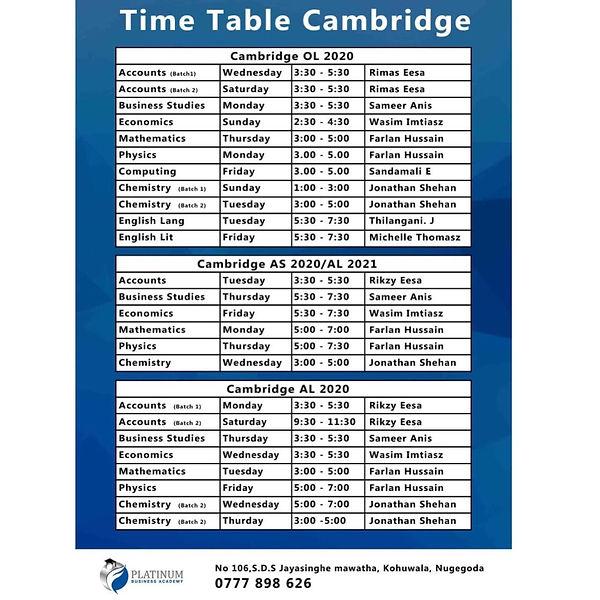 Platinum Nugegoda Kohuwala Timetable
