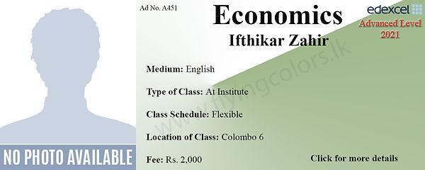 Edexcel A'Level Economics Tuition Class by Ifthikar Zahir