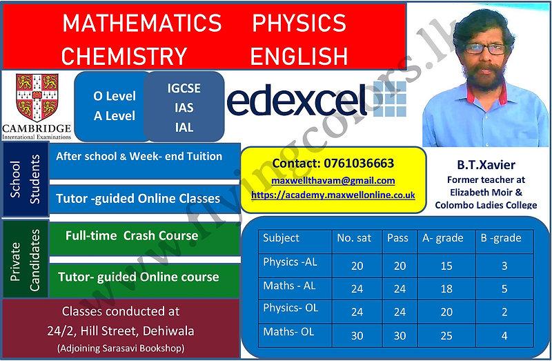 Edexcel & Cambridge Mathematics, Physics, English and Chemistry Exam Results