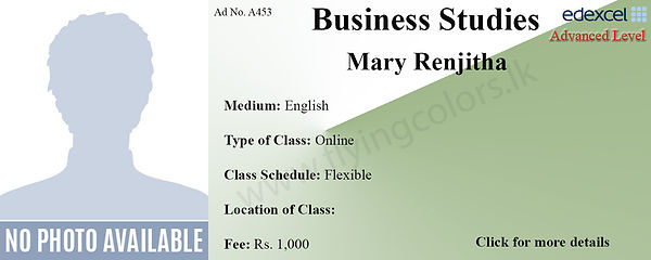 Edexcel Advanced Level Tuition Class by Mary Renjitha