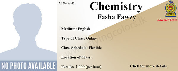GCE A'Level Chemistry Tuition by Fasha Fawzy