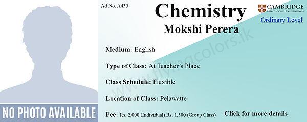 Cambridge Chemistry O'Level Tuition by Mokshi Perera