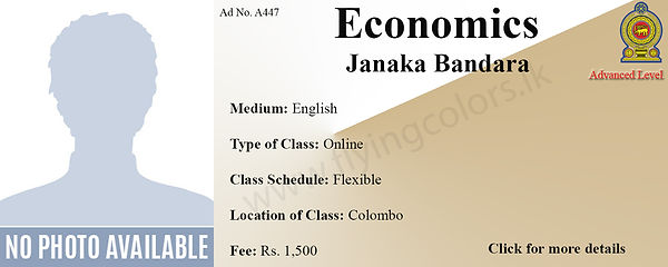 GCE A'Level Economics Tuition by Janaka Bandara