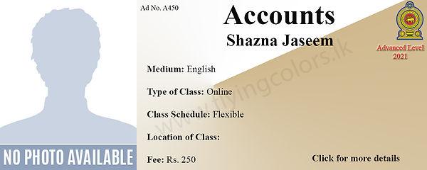 GCE Accounts A'Level Tuition by Shazna Jaseem