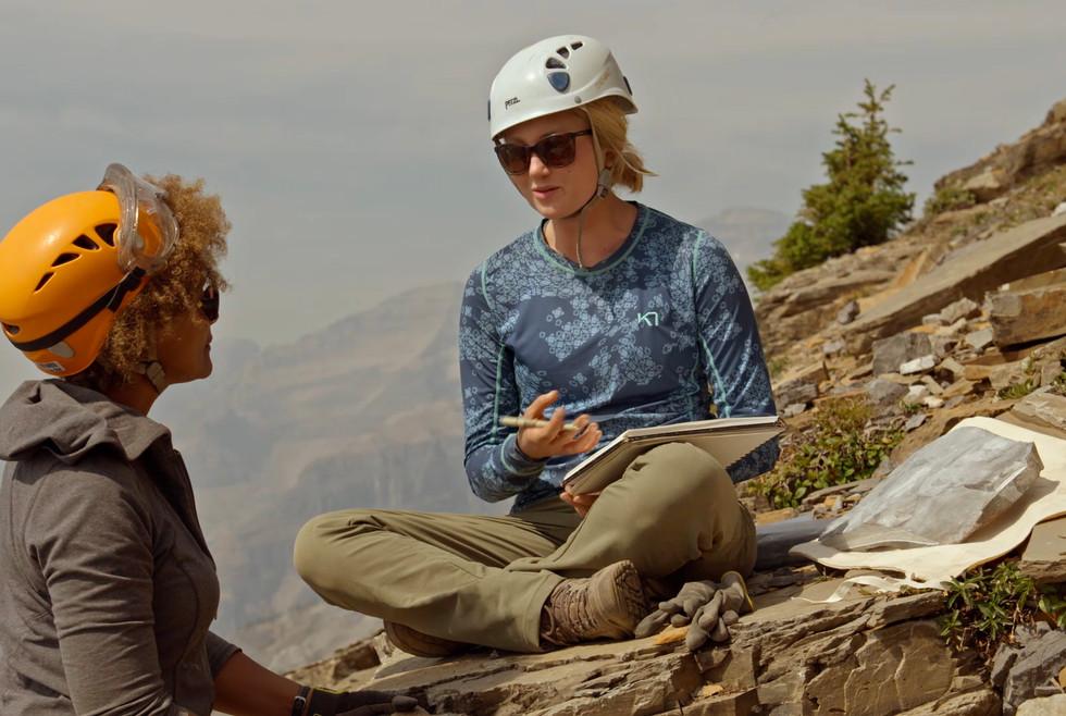 Grad Student Ellie Ellis sketching fossils
