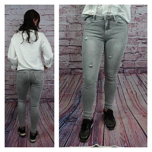 Destroyed skinny Jeans, grau