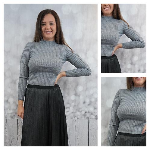 Enger, Gerippter Pullover mit Stehkragen