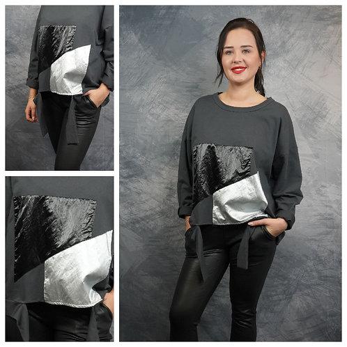 Sweatshirt mit silber/schwarz