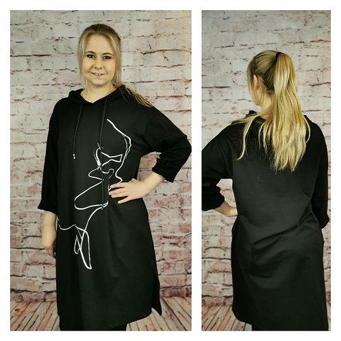 Hoody-Kleid, schwarz