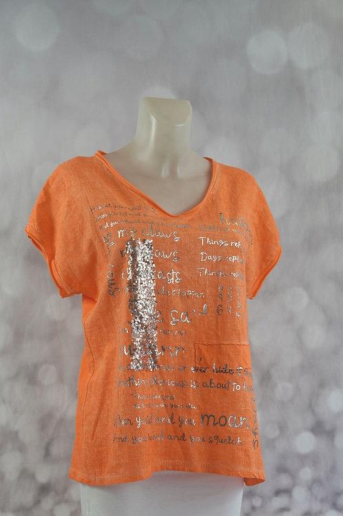 T-Shirt mit Pailletten und Silberschrift