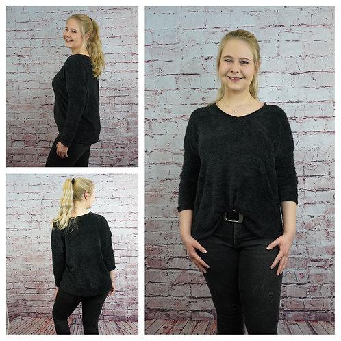 Kuschel-Pullover mit V-Ausschnitt