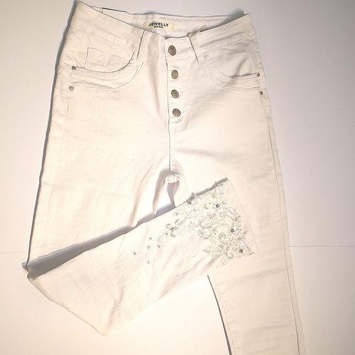 Jeans weiß mit Perlen