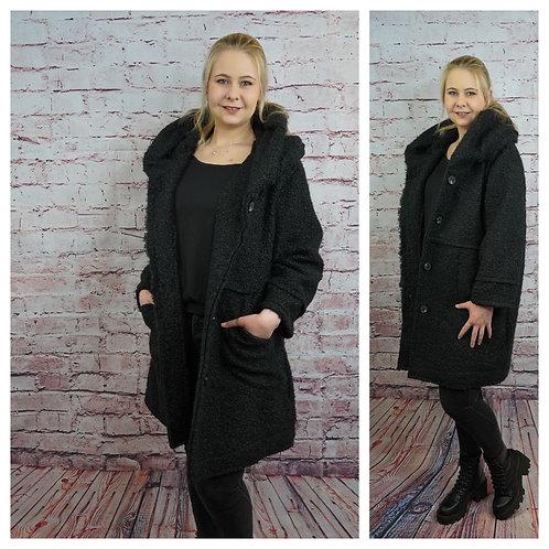 Mantel schwarz mit Kapuzenkragen