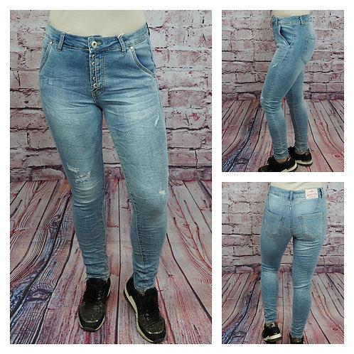 Destroyed Jeans mit Knopfleiste