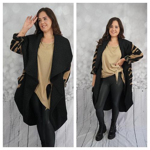 Mantel schwarz, beige
