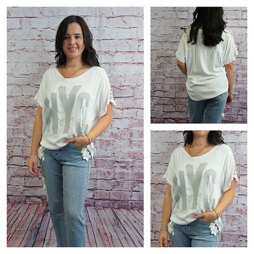 T-Shirt, grau/weiß