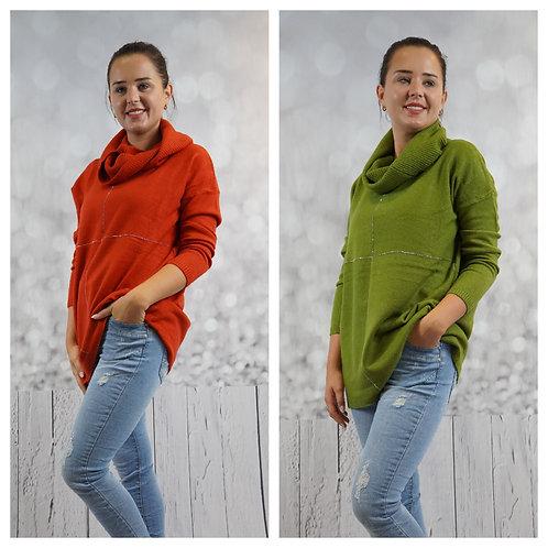 Pullover mit Strass und Schal