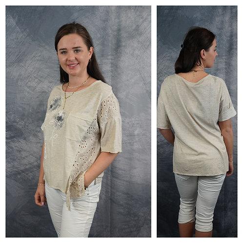 T-Shirt mit Blume, Silber