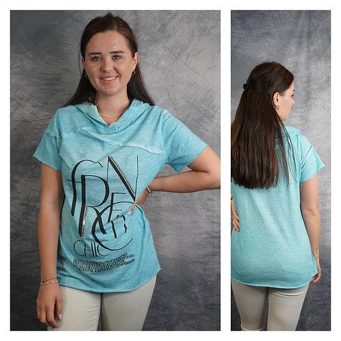 T‐Shirt mit Kapuze und Schrift