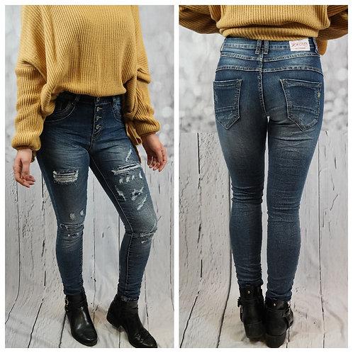 Destroyed Jeans mit Köpfleiste