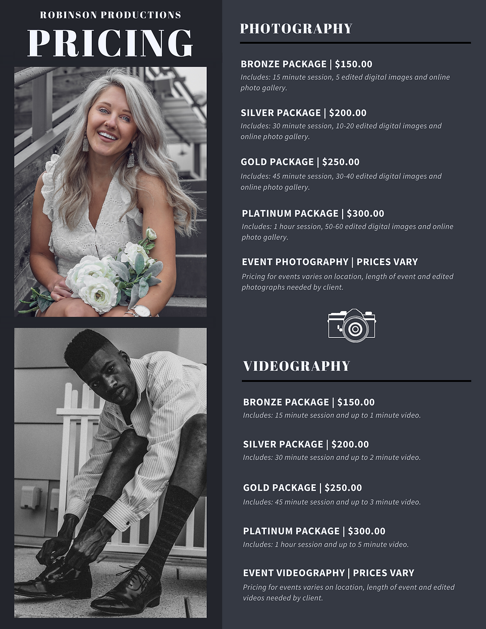 Pricing for Photography and Videography Services