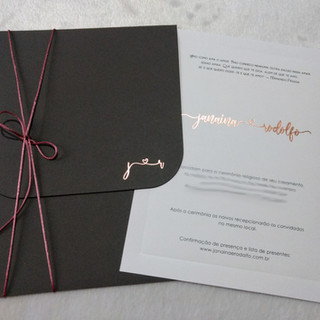 Convite de Casamento Cinza e Rosê