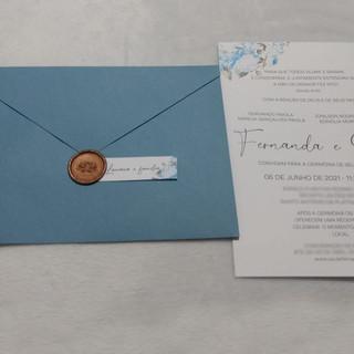 Convite de Casamento Floral Azul Serenity