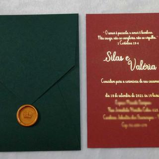 Convite de Casamento Marsala e Verde Musgo