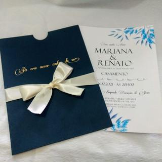 Convite de Casamento Floral em Azul