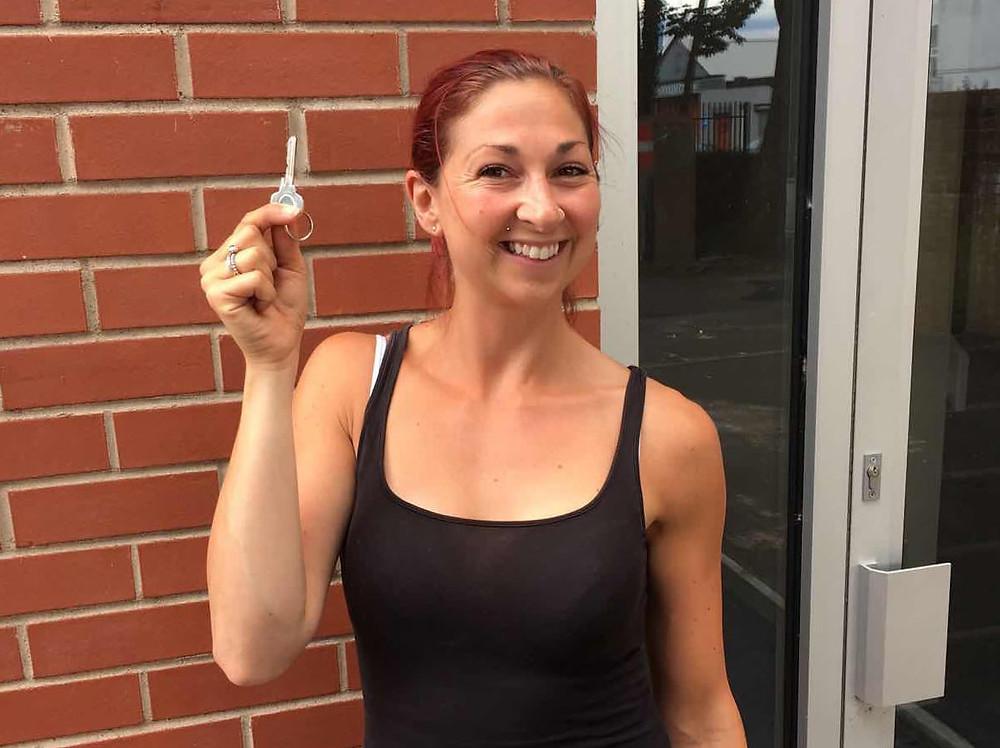 Amy with key