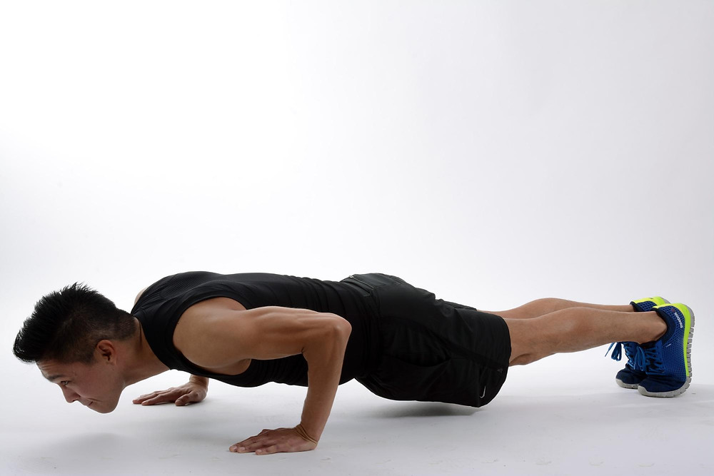 Man With Solid Pushup Form