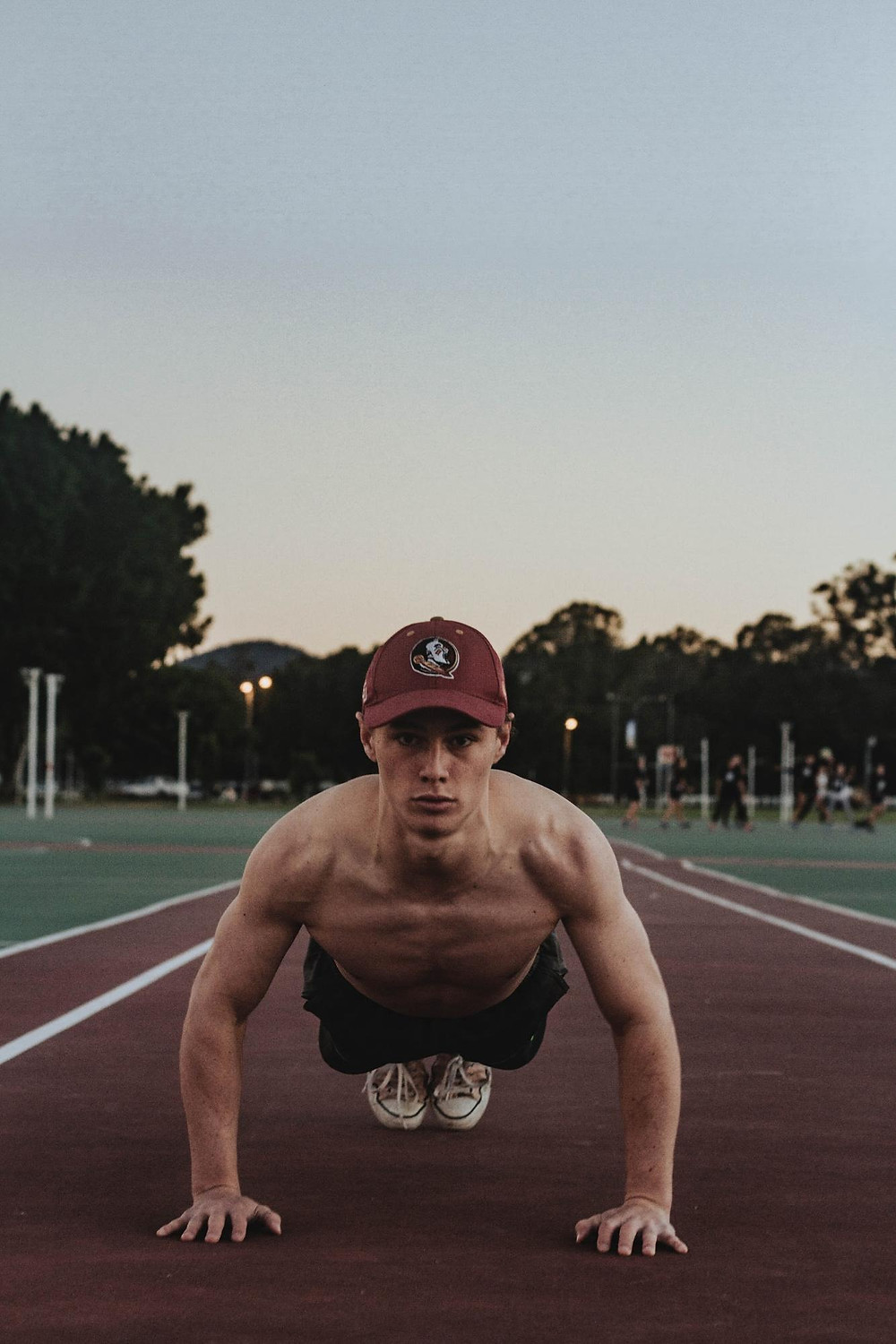 Front view of man doing a pushup