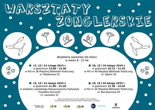 Zima w Mieście Warsztaty żonglerskie dla dzieci w wieku 8-12 lat w ferie zimowe 2019.