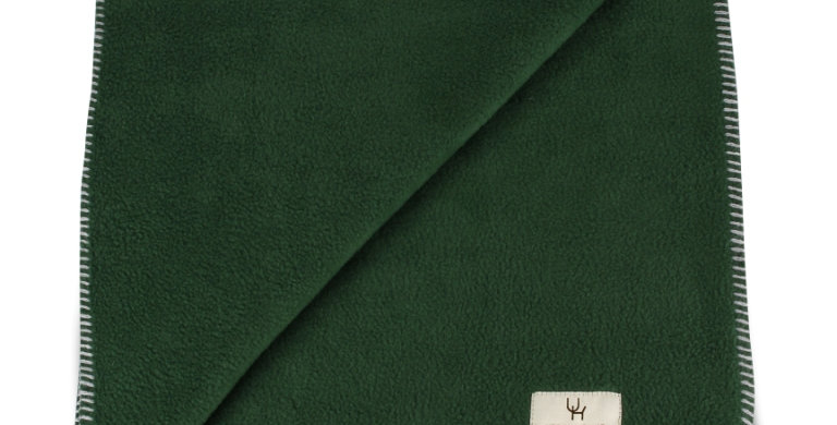 Blanket green with silver stitching