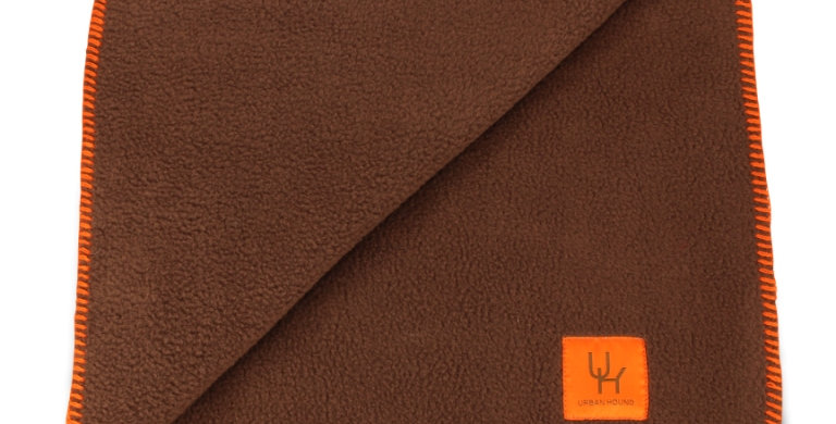 Blanket brown with orange stitching