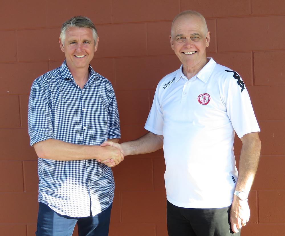 Malcolm McPherson left with Waiheke United AFC President David Arnold.
