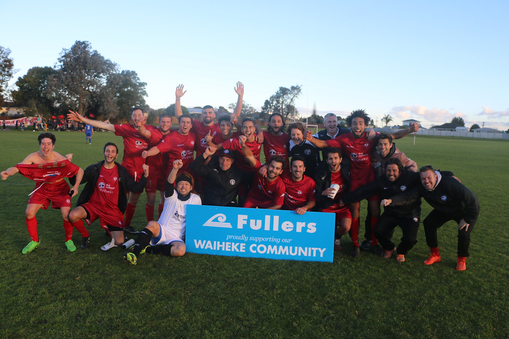 Waiheke United celebrate their promotion to NRFL Division One for 2018.