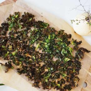 Sprø grønnkålchips / hvitløkssmak