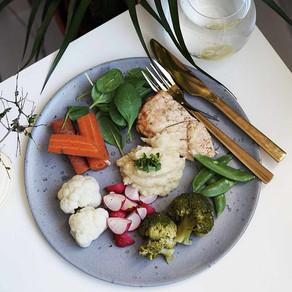 Kylling med pastinakkmos & grønnsaker