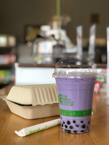 Taro boba (over ice) and Vietnamese salad
