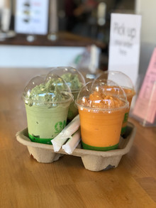 Green tea matcha and Thai tea boba