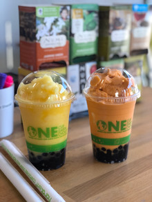 Mango and Thai tea ice-blended boba