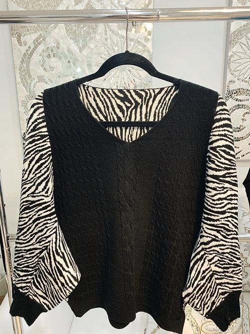 Zebra Knit Blouse
