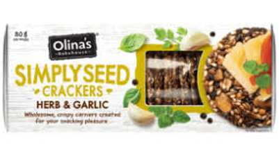 Olina's Simply Seed Herb & Garlic Crackers 80g