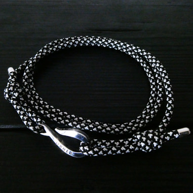 Cordon alpin noir blanc et Crochet Orner argent 925